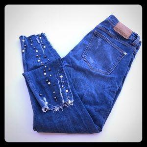 Zara Denim with Pearls Jeans